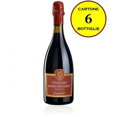 """Lambrusco Grasparossa di Castelvetro DOP frizzante secco """"Rosso di Corte"""" - Cantina Fratelli Carafoli (6 bottiglie)"""