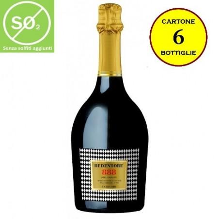 """Spumante Extra-Dry Millesimato """"888"""" Linea Redentore (senza solfiti aggiunti) - De Stefani (cartone da 6 bottiglie)"""